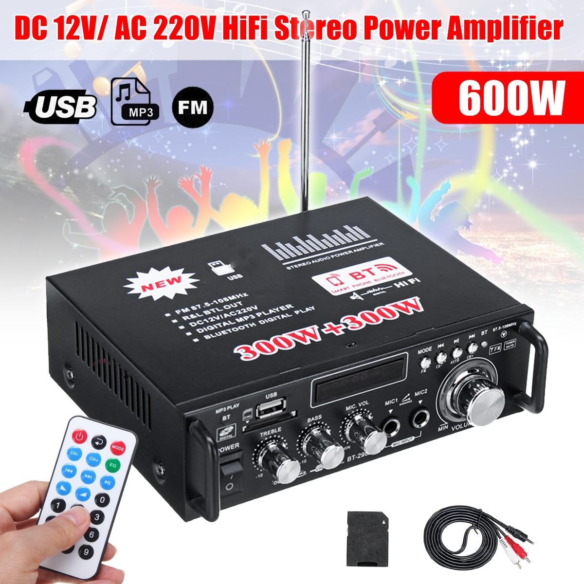KROAK 600 w 12 v 220 v Mini USB Bluetooth Estéreo de Alta Fidelidade Amplificador de Potência de Áudio Do Carro de Controle Remoto para o Carro auto de Áudio Em Casa