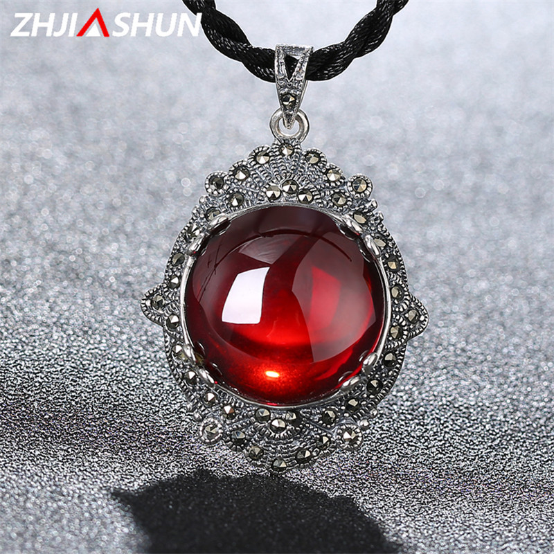 925 Sterling Silver Gemstone Garnet Pendant Necklaces Vintage Thai Silver Jewelry for Women Wedding Mothers D Gift