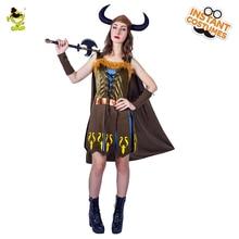 2018 Новый роскошный костюм Viking Woman Costume Ladies Carnival Party Великолепные воины Cosplay Dress Cool Viking Leader Decoration Outfits
