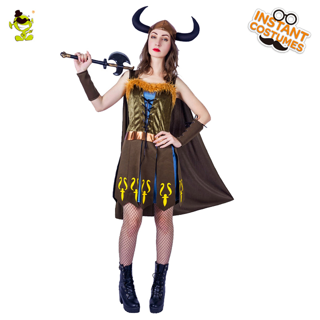 2018 New Deluxe Viking Woman Costume Ladies Carnival Party Gorgeous ...