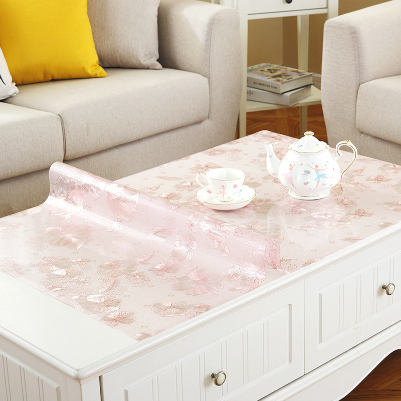 home kitchen transparent anti scald oil proof floral waterproof Dining crystal rectangular PVC placemat table cloth mat cover in Tablecloths from Home Garden