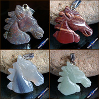 100 Real Natural Stone Hand Carved Horse Head Amulet Lucky Men Pendant Necklace Fashion Animal Agate