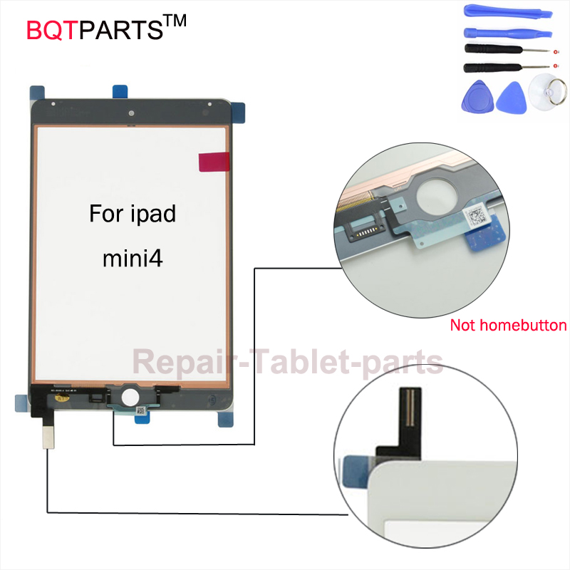 BQT 100% Tested Touch Panel For iPad Mini 4 Touch Screen Digitizer Panel without homebutton glass touch black white