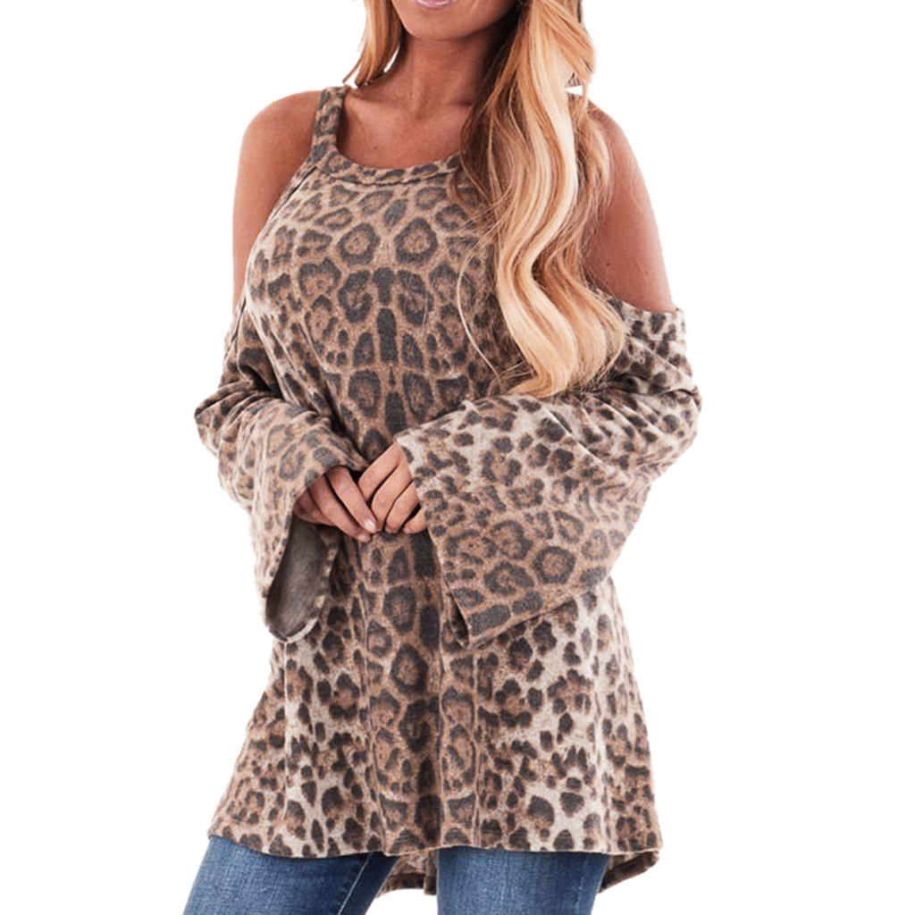 717a3d5977867 Detail Feedback Questions about YOUYEDIAN women blouses long sleeve plus  size Leopard Print Blouse Tops Cold Shoulder Tops Womens Tops and Blouses   w20 on ...