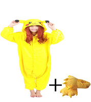 New Women Sleep Pig Pajamas Anime Yellow Pikachu Onesie Regular Round Neck Solid Casual Sent Slipper Chinese Market Online