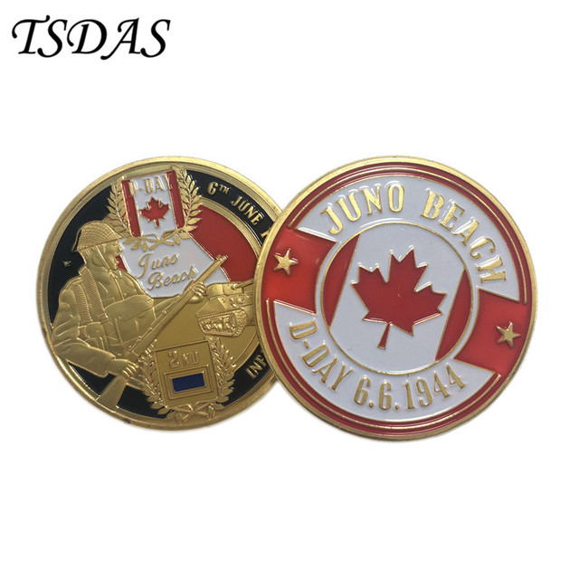 Gold Plated Coin D-DAY Infantry Division JUNO Beach Challenge Coin Gifts Free Shipping Metal Coin