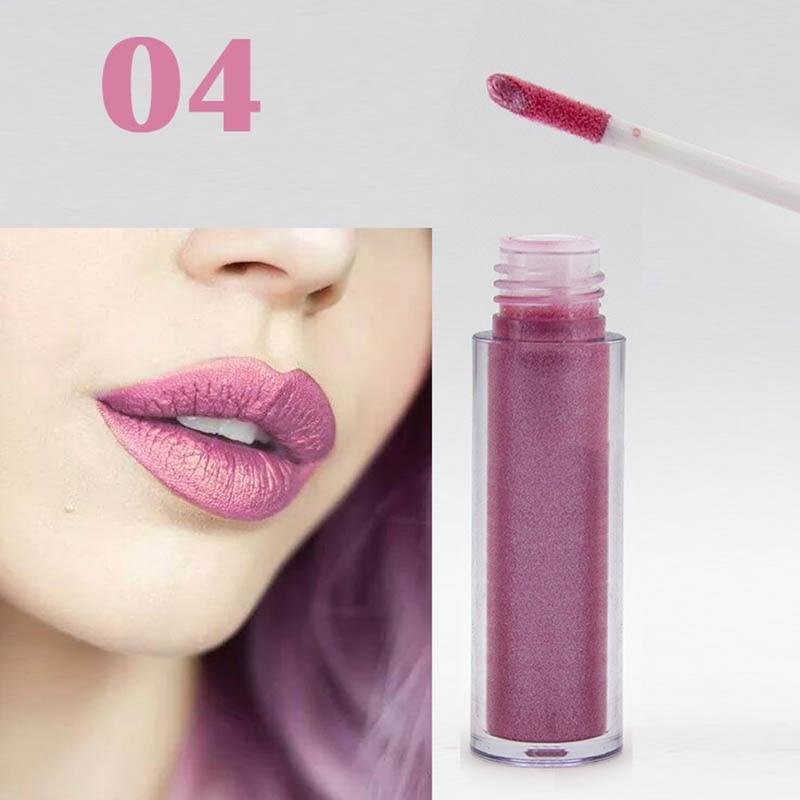 Women Fashion Glitter Lipstick Diamond Shine Lips Makeup Metallic Matte Lip Stick Lasting Waterproof Lipsticks 6