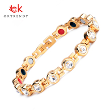 Oktrendy Magnetic Crystal Bracelets & Bangles Rhinestone Jewelry Women Accessories Pain Relief Hologram Germanium