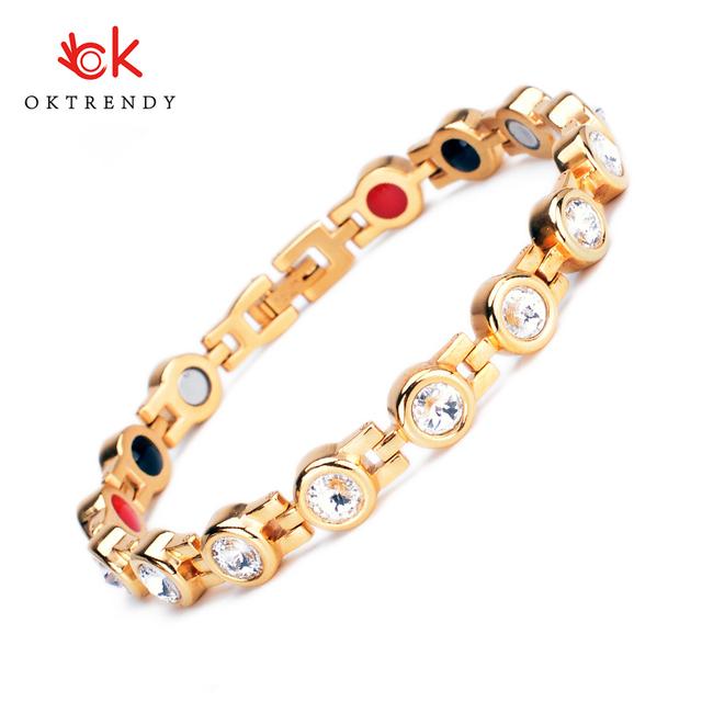 Oktrendy Magnetic Crystal Bracelets & Bangles Rhinestone Jewelry Women Accessories Pain Relief Hologram Germanium Bracelets