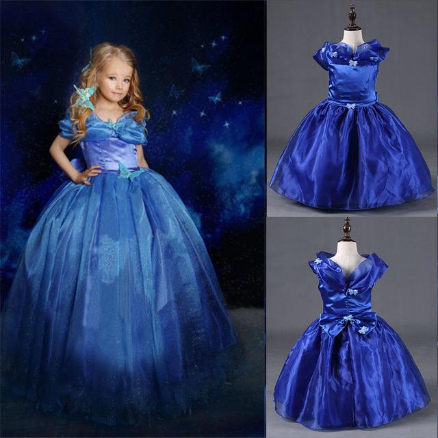 New Custom Anna Elsa Menina Princesa Da Menina Das Crianças Crianças Pano Vestido de Festa Cinderela Vestido Vestidos Crianças Vestidos de Bebê Para Gilrs