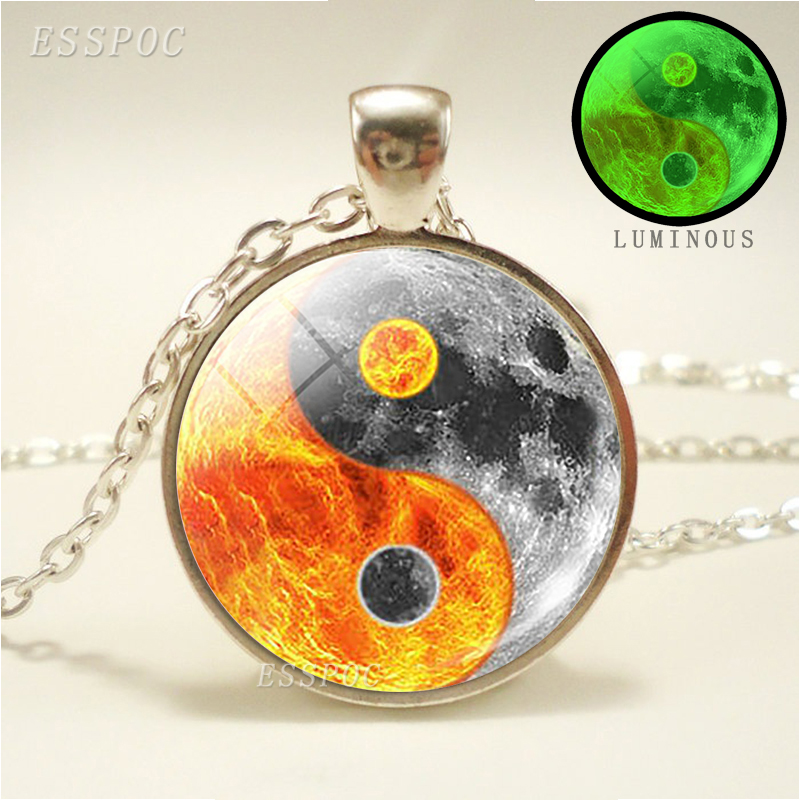 Sun and Moon Yin Yang Pendant Necklace Luminous Necklace Sil…