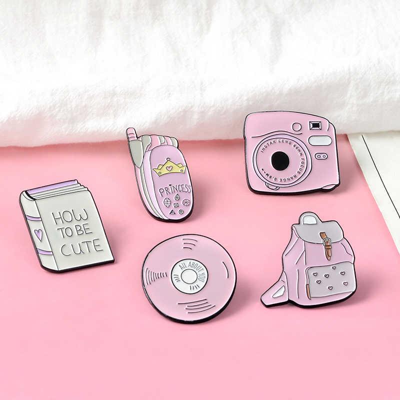 Kamera Enamel Polaroid Bros Pesan Kerah Pin CD Telepon Ransel Pin Up Hadiah untuk Pink Lady Hadiah untuk Wanita