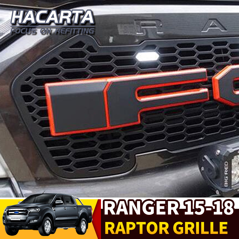 CStern LED Raptor Style Exterior Front Radiator Racing Grill Grille with Black Letters for Ford Ranger T7 2015-2018 ABS Bumper Mesh Mask Trim Cover