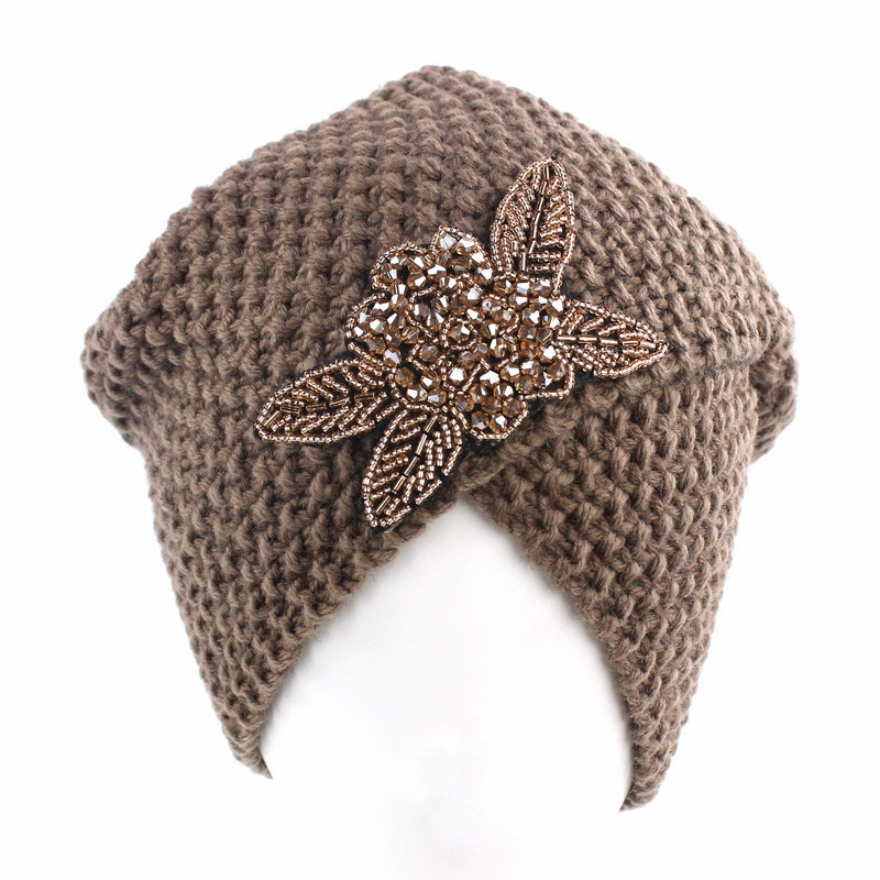 Muslim Winter Turban Hat Warm Print Rhinestone Knit Cap Beanie Sleep Chemo Turban   Headwear   Cancer Patients Hair Accessories