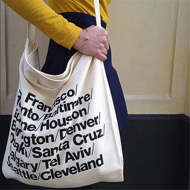 New Fashion Vintage American Arel Woven Cotton City Bag With Strap Canvas Letter Cowboy Ping