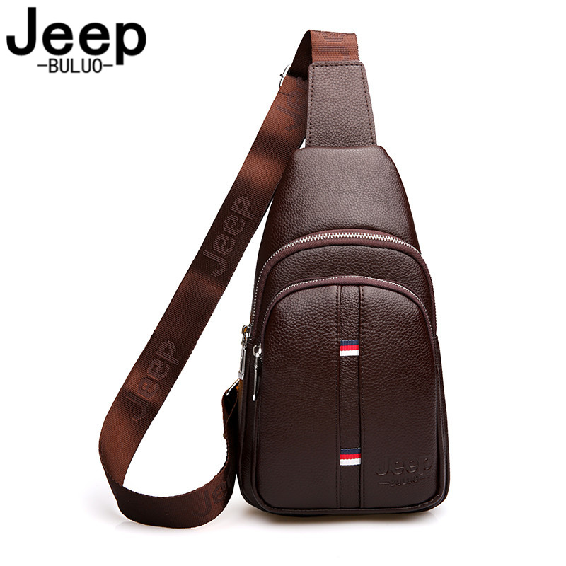 JEEP BULUO Man's Chest Bag Casual Crossbody Bags For Men Large Capacity High Quality Leather Sling Bag For Short Trip 2018 New