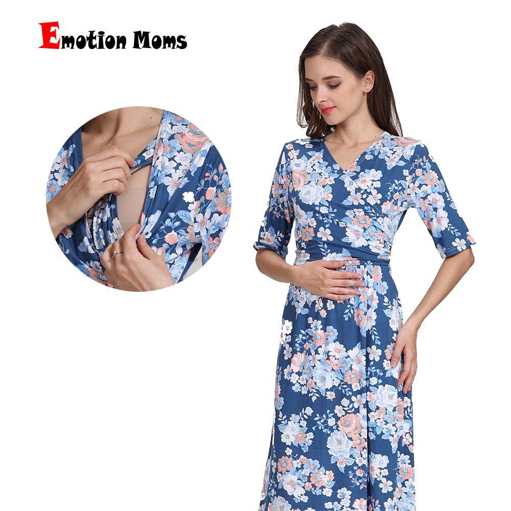Emotion Moms Maternity Clothing Nursing Dress Party Floral Dress Pregnancy Long Breastfeeding Dresses for Pregnant Women