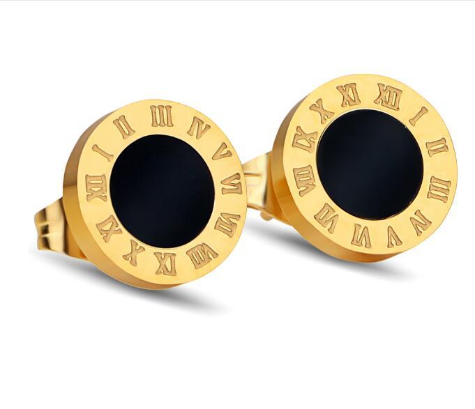 10 mm Mens Earrings Black Stainless Steel Roman numerals Stud Earrings For Men aretes de mujer