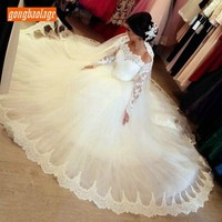 Luscious White Lace Appliques Off Shoulder Wedding Dresses Long Sleeves Ball Gown Bride Dress Princess Slim Fit Wedding Gowns