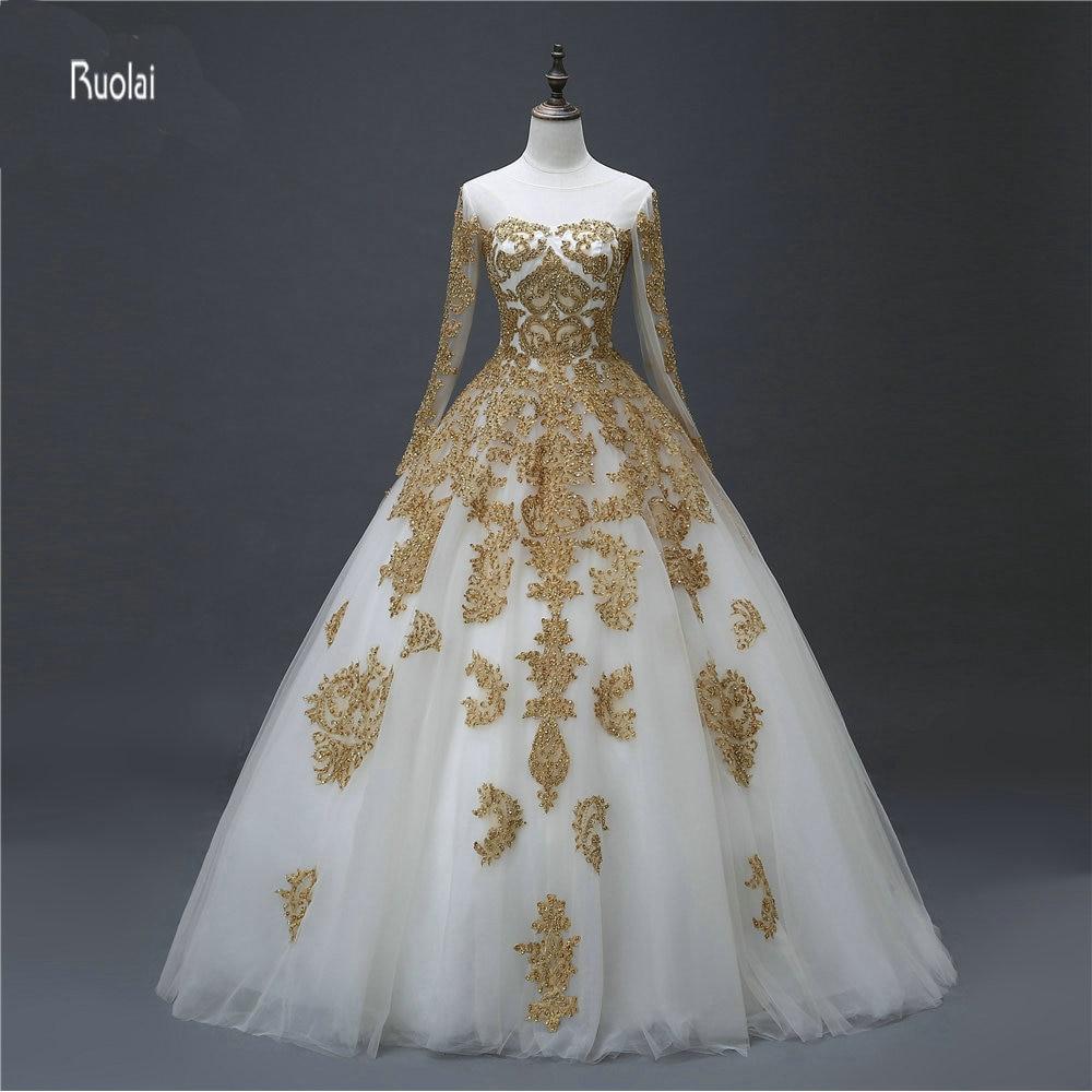 2017 Sampel Sebenar Renda Emas Baru Manik Jahitan Lengan Panjang Tulle Scoop Zipper Kembali Pakaian Perkahwinan Untuk Parti