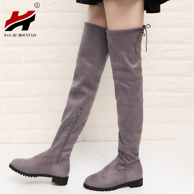 2017 Slim Boots Sexy Over The Knee High Suede Women Snow Boots Women's Fashion Winter Thigh High Boots Shoes Woman 1