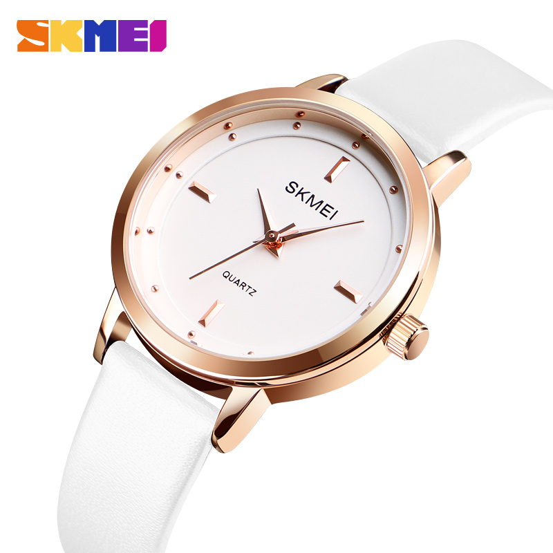SKMEI Top Brand Women Quartz Watchs Fashion Ladies Watch Leather Ladies Thin Casual Strap Watches Reloj Mujer Marble 1457 shengke top brand fashion ladies watches white leather marble dial female quartz watch women thin casual strap watch reloj muje
