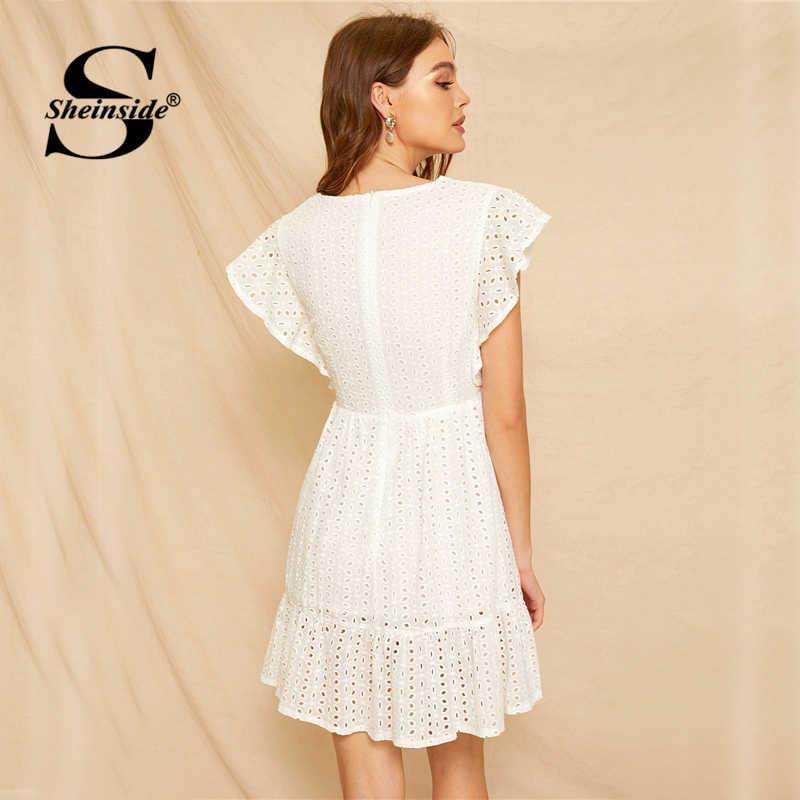 Sheinside, белое платье с вышивкой, рюшами и оборками, женское платье 2019, v-образный вырез, рукав-бабочка, мини платья, женское платье трапециевидной формы в стиле бохо
