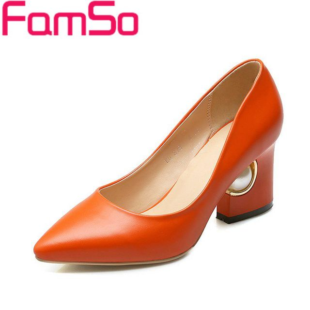 Big Size34-43 2016 New Sexy Women Pumps pointed toe Autumn Single Shoes  black  orange thick heels platforms pumps PS1730