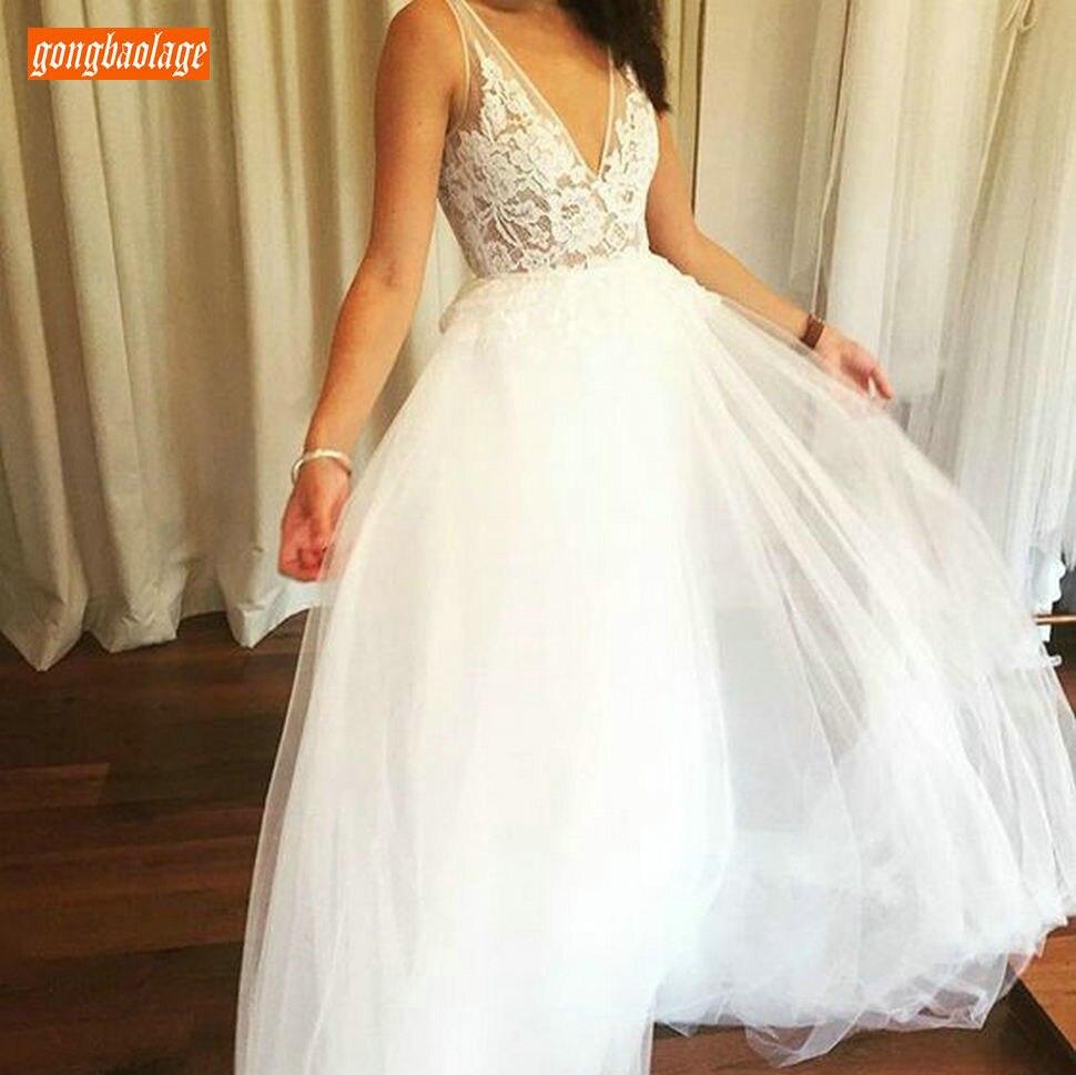販売よく新デザインソフトチュールホワイトビーチ花嫁のドレスセクシーなディープ V ネックウェディングドレスアイボリースリムフィット王女のウェディングドレス  グループ上の ウェディング & イベント からの ウェディングドレス の中 2