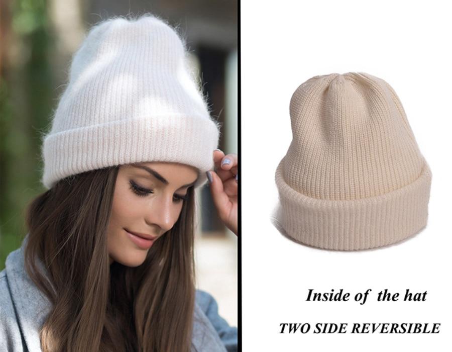 Lawliet mujeres sombreros 2018 nuevo invierno de piel de conejo ... 6b1e356bad73