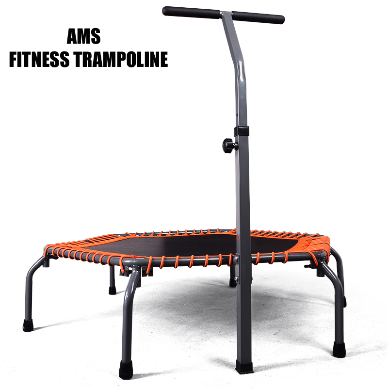 AMS 135cm Diameter Exercise Fold Fitness Trampoline With Adjustable Handrail