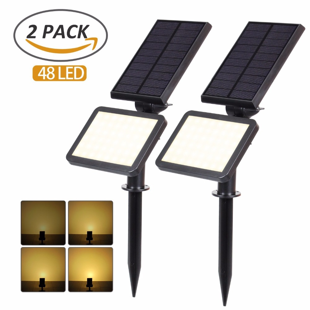 цена T-SUNRISE 2 PACK Solar Spotlights Outdoor Solar Lights 48 LED Outdoor Lighting Waterproof IP65 Wall Light For Garden Decoration
