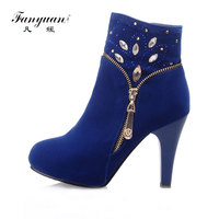 Fanyuan 2017 New Style Shoes Women Crystal Design Zip Solid Round Toe Platform Thin High Heels