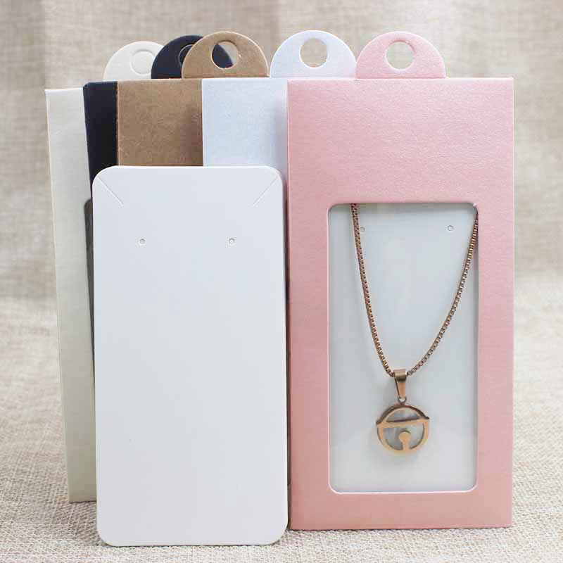 50PCS Multi Color Paper Jewelry Package& Display Box Window Hanger Packing Box With Clear Pvc Window For Necklace /earring
