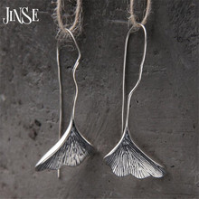 JINSE Long S925 Silver Ginkgo biloba Drop Earrings For Women Fashion Brand Plant ginkgo Leaf Earrings For Women Lady Gift 22mm