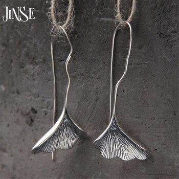 JINSE долго S925 Серебро Гинкго билоба серьги для Для женщин модный бренд завод листьев гинкго серьги для Для женщин леди подарок 22 мм