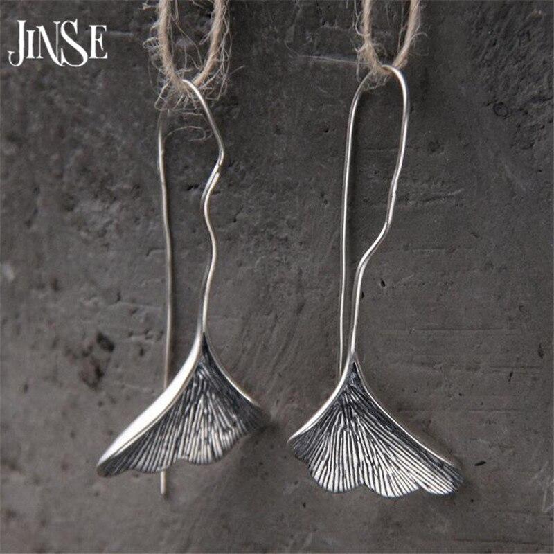 JINSE Long S925 Silver Ginkgo biloba Drop Earrings For Women Fashion Brand Plant ginkgo Leaf Earrings For Women Lady Gift 22mm поддержка нервной системы now foods ginkgo biloba 60mg 240 капс