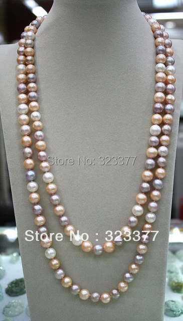 120-125CM Long Beautiful 9-10MM Round Shiny Multicolor Freshwater Pearl Sweater Necklace. Great Gift For Mothers And Wives!