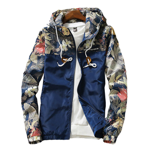 Image 2 - Womens Hooded Jackets 2020 Spring Autumn Floral Causal Windbreaker Women Basic Jackets Coats Zipper Lightweight Jackets Famale