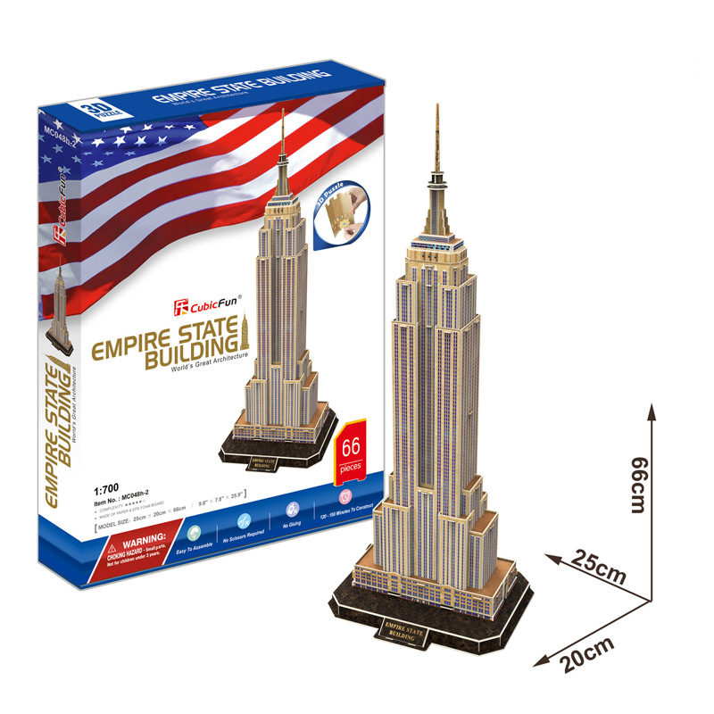 Gratis frakt 3D Wood Puzzle DIY Modell Kids Toy, World Famous Towers - Puslespill - Bilde 4