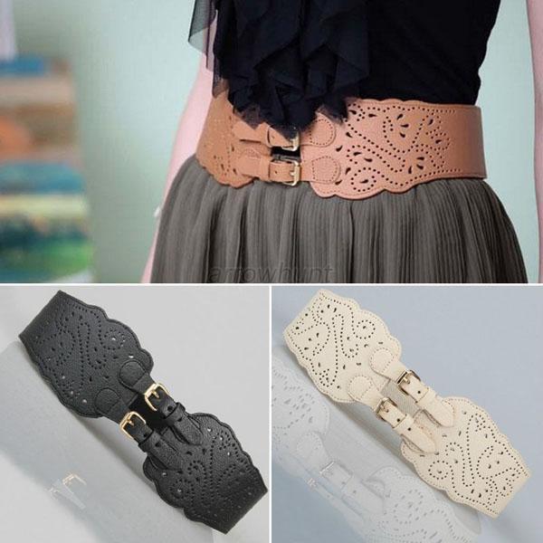 Fashion Women Double Buckle Elastic Waist Belt Wide Stretch Corset Waistband