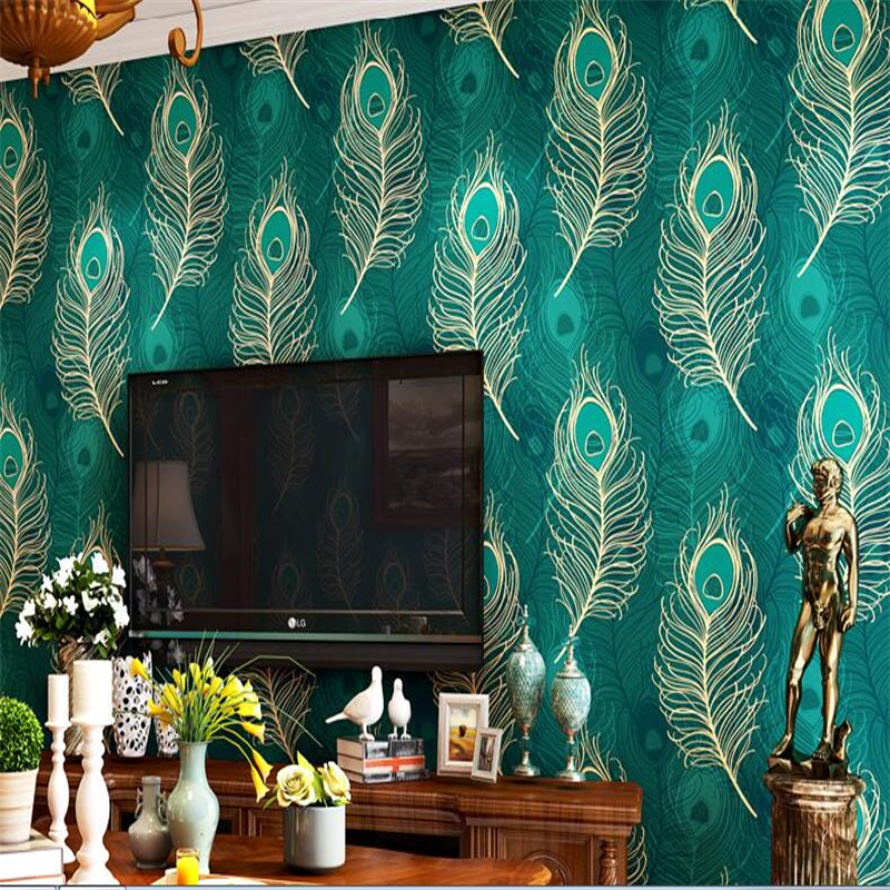 beibehang wall paper 3d Southeast Asian Style Chinese Peacock Feather Wallpaper Non-woven Bedroom TV Background Wall mural beibehang peacock deep blue feather