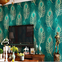 beibehang wall paper 3d Southeast Asian Style Chinese Peacock Feather Wallpaper Non woven Bedroom TV Background Wall mural