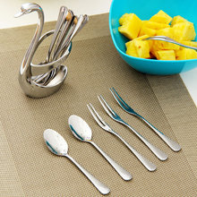 ORZ 13PCS Swan Dinnerware Set Coffee Tea Fruit Dessert Scoop Fork With Holder Stainless Steel Wedding Party Tableware Sets Gift