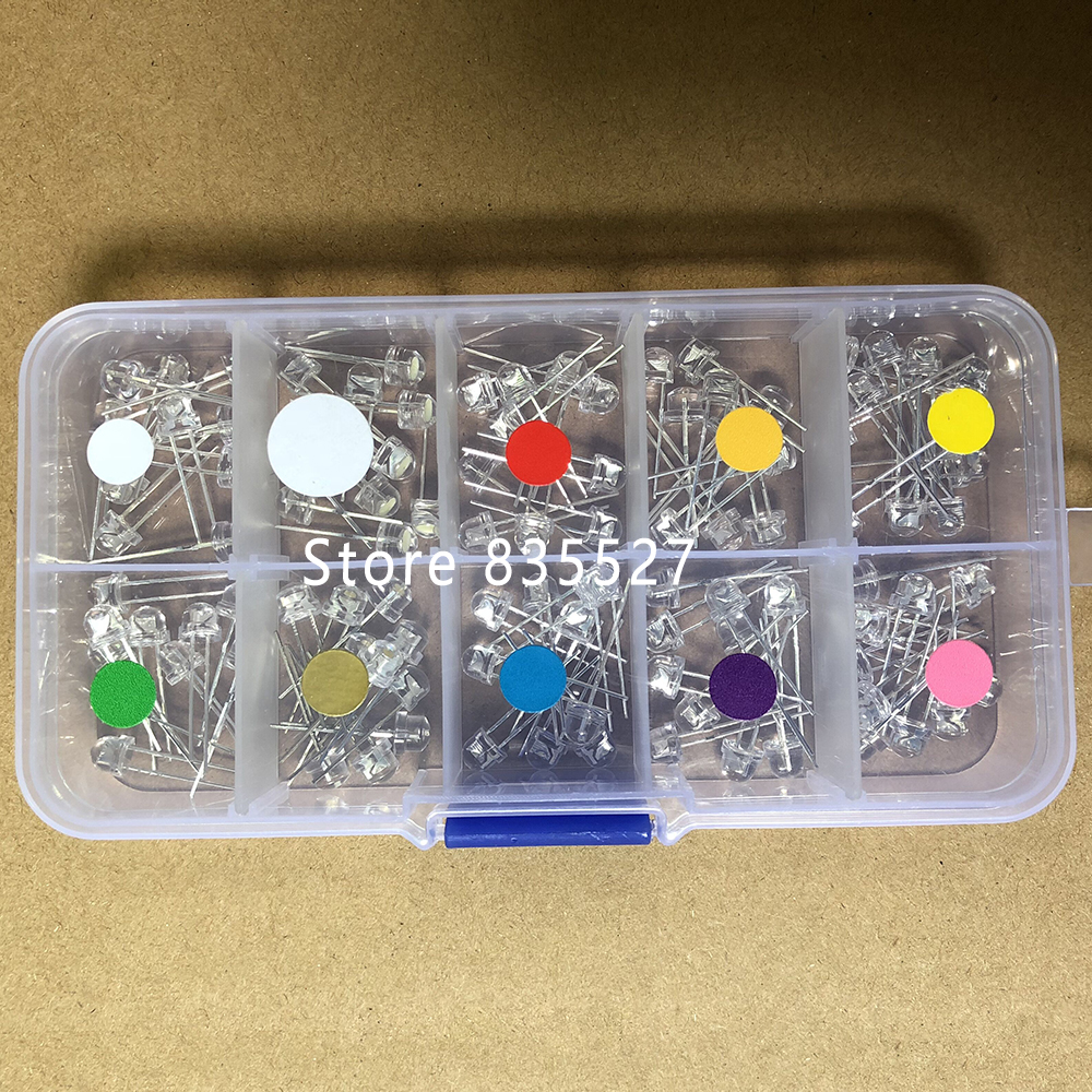 100pcs/Box MIX 5mm LED F5 Assorted Kit Straw Hat Warm White Green Red Blue UV Yellow Orange Pink DIY Light Emitting Diode Set