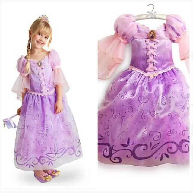 Fantasia Vestidos, 2016 Niños Cosplay Vestidos Rapunzel Princesa Costume Wear Realice Ropa Venta CALIENTE del envío libre