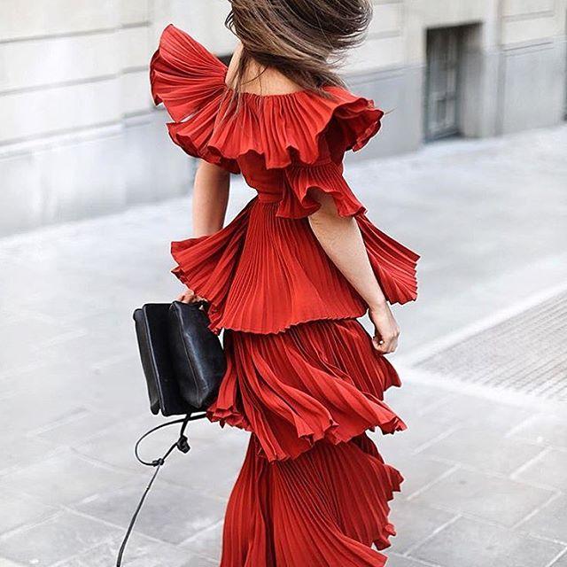Self Portrait Dress Women 2018 Summer Sexy Off Shoulder Ruffles Pleated Long Dress Bohemian Red Dress Female