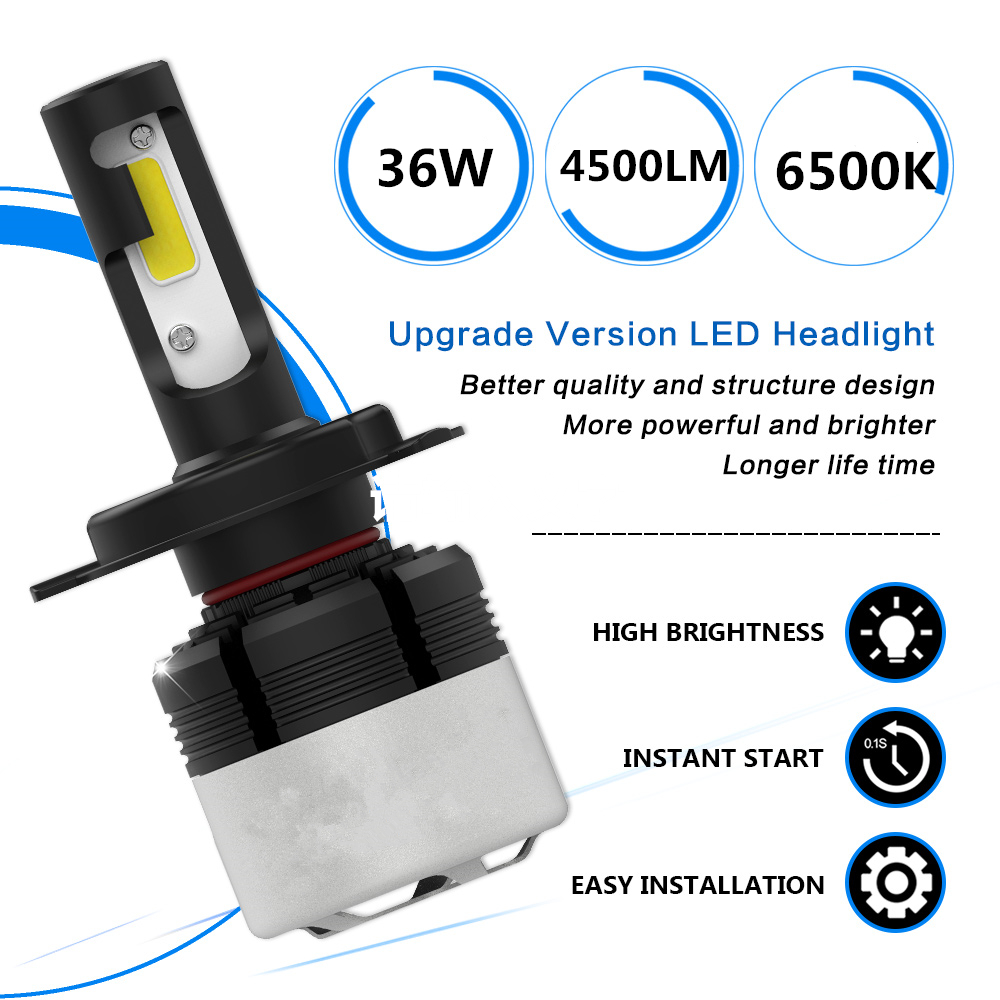 1PCS H4 LED Motorcycle Headlight Bulb 4500LM 36W Hi Lo Conversion Kit 6500K Moto Super Bright Headlight LED Bulbs Headlamp