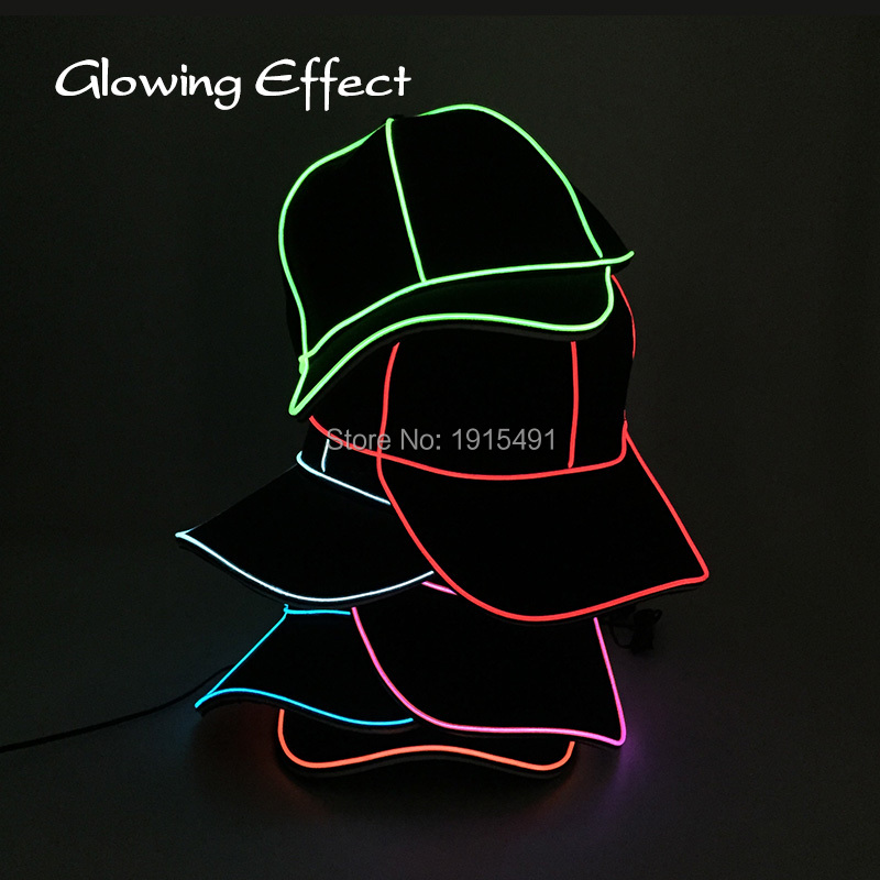 Cool New Neon Led Strip Flickering Casquette Cap 10 Colors Flashing Adjustable EL Rope Cable Outdoor Sport Hat with DC3V Drive