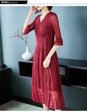 Elegant mature women's lace dress 2019 summer V-neck bow loose large size miyak pleated wig dress lace lace dress girls lace pleated dress